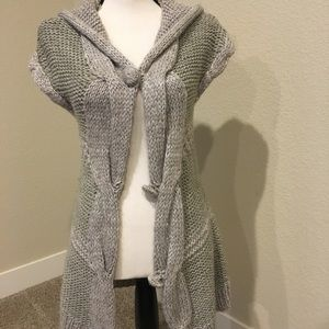 Unique button down cardigan with hood
